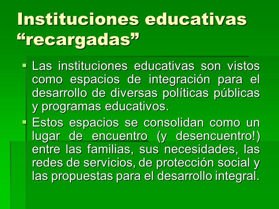 Instituciones educativas recargadas Las instituciones educativas son vistos como espacios de integración para el desarrollo de diversas políticas públ