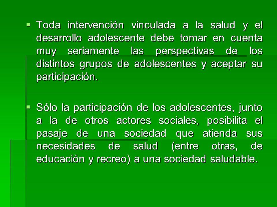 Toda intervención vinculada a la salud y el desarrollo adolescente debe tomar en cuenta muy seriamente las perspectivas de los distintos grupos de ado