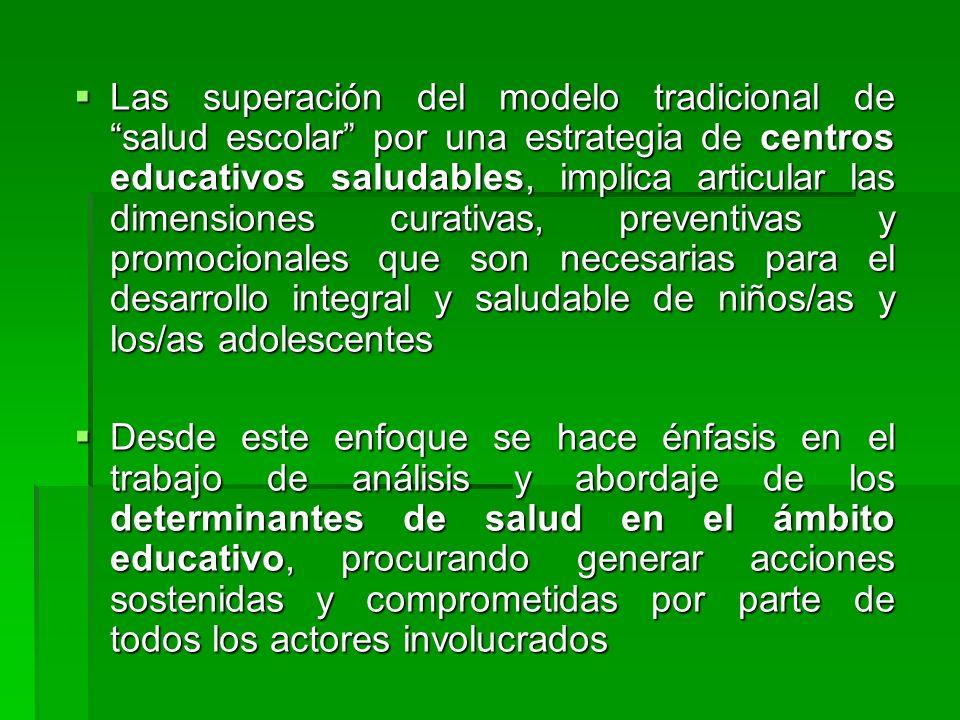 Las superación del modelo tradicional de salud escolar por una estrategia de centros educativos saludables, implica articular las dimensiones curativa
