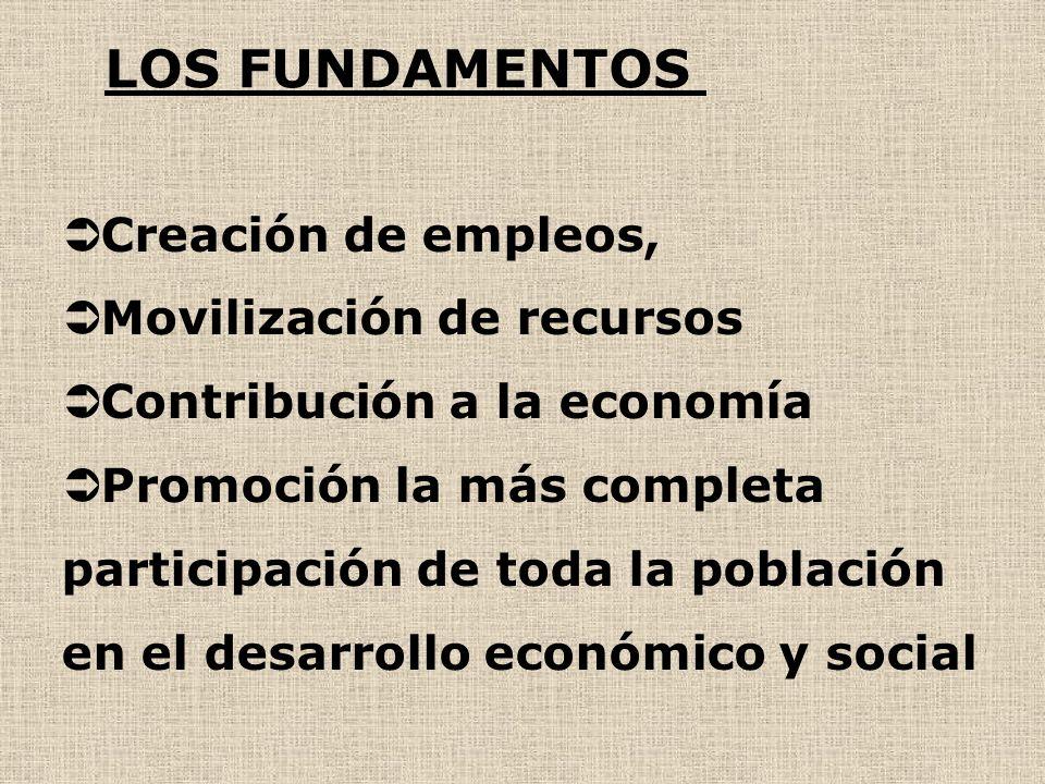 LOS FUNDAMENTOS Creación de empleos, Movilización de recursos Contribución a la economía Promoción la más completa participación de toda la población en el desarrollo económico y social