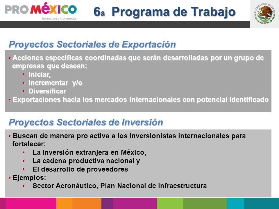 6 a Programa de Trabajo Proyectos Sectoriales de Exportación Acciones específicas coordinadas que serán desarrolladas por un grupo de Acciones específ
