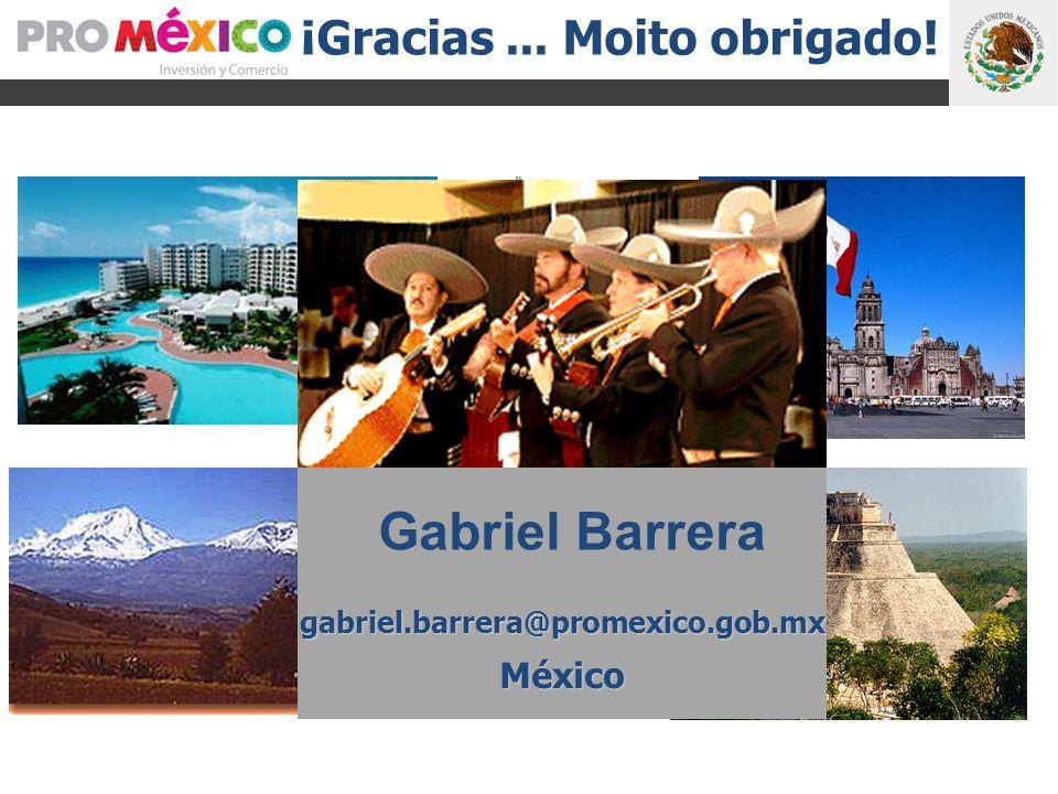 ¡ ¡Gracias... Moito obrigado! Gabriel Barrera gabriel.barrera@promexico.gob.mxMéxico