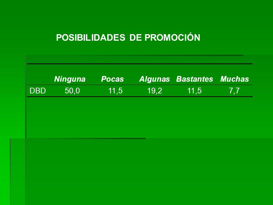 POSIBILIDADES DE PROMOCIÓN NingunaPocasAlgunasBastantesMuchas DBD50,011,519,211,57,7
