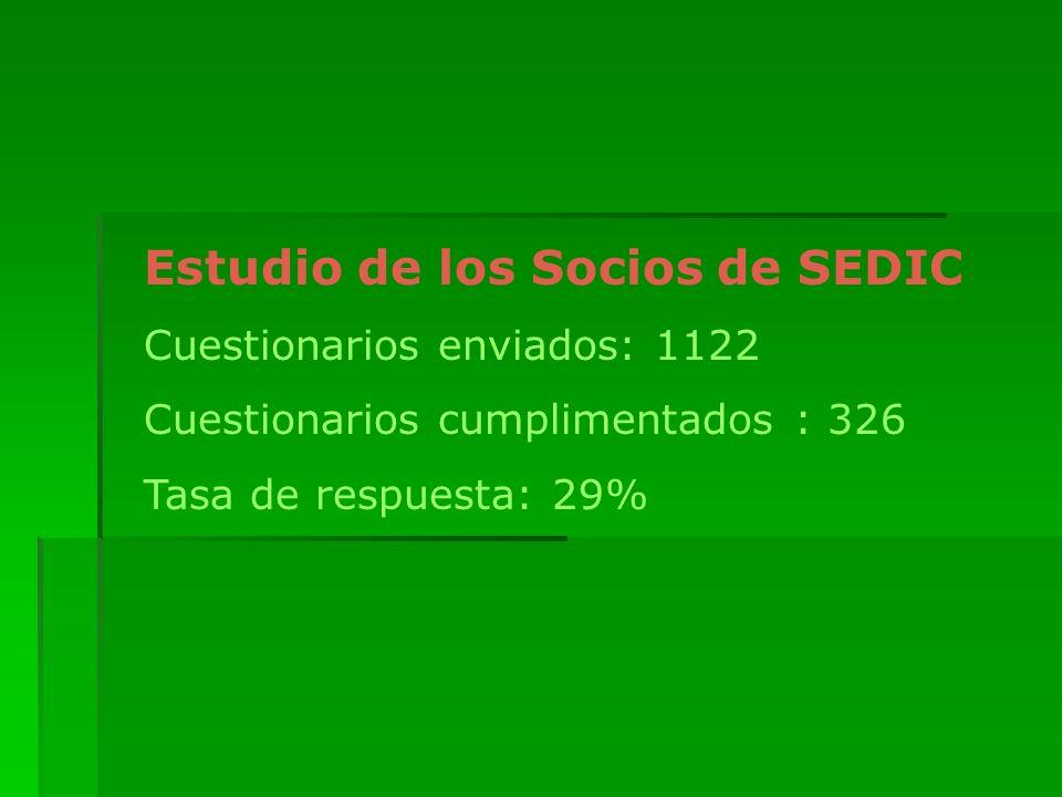 Estudio de los Socios de SEDIC Cuestionarios enviados: 1122 Cuestionarios cumplimentados : 326 Tasa de respuesta: 29%