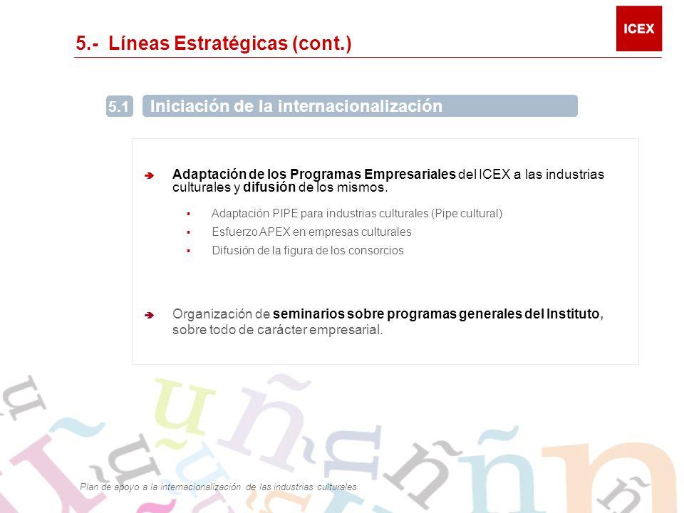 5.- Líneas Estratégicas (cont.) Adaptación de los Programas Empresariales del ICEX a las industrias culturales y difusión de los mismos.
