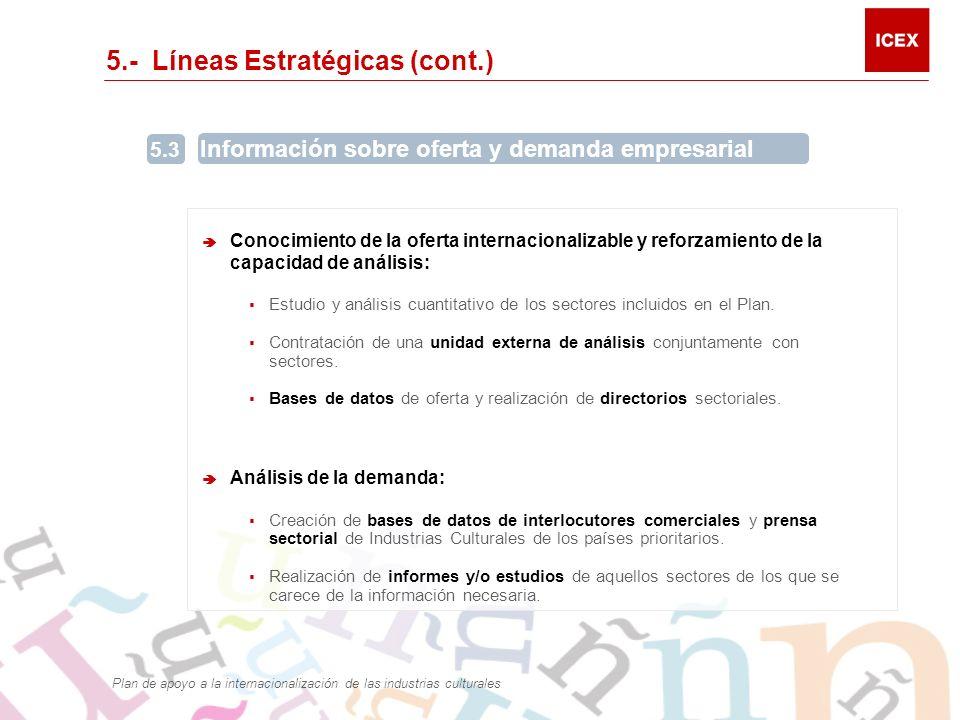 5.- Líneas Estratégicas (cont.) 5.3 Información sobre oferta y demanda empresarial Conocimiento de la oferta internacionalizable y reforzamiento de la capacidad de análisis: Estudio y análisis cuantitativo de los sectores incluidos en el Plan.