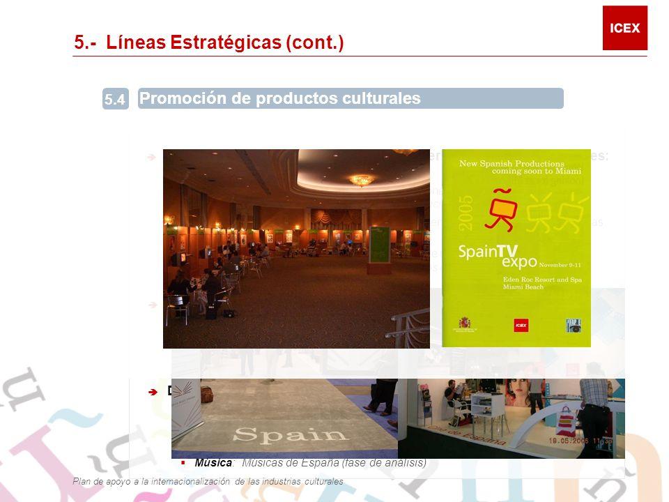 5.- Líneas Estratégicas (cont.) Participación española en las principales ferias y foros internacionales: Participación en 69 ferias o mercados internacionales: Editorial 23, Audiovisual 13, Música 5, Servicios educativos 28.