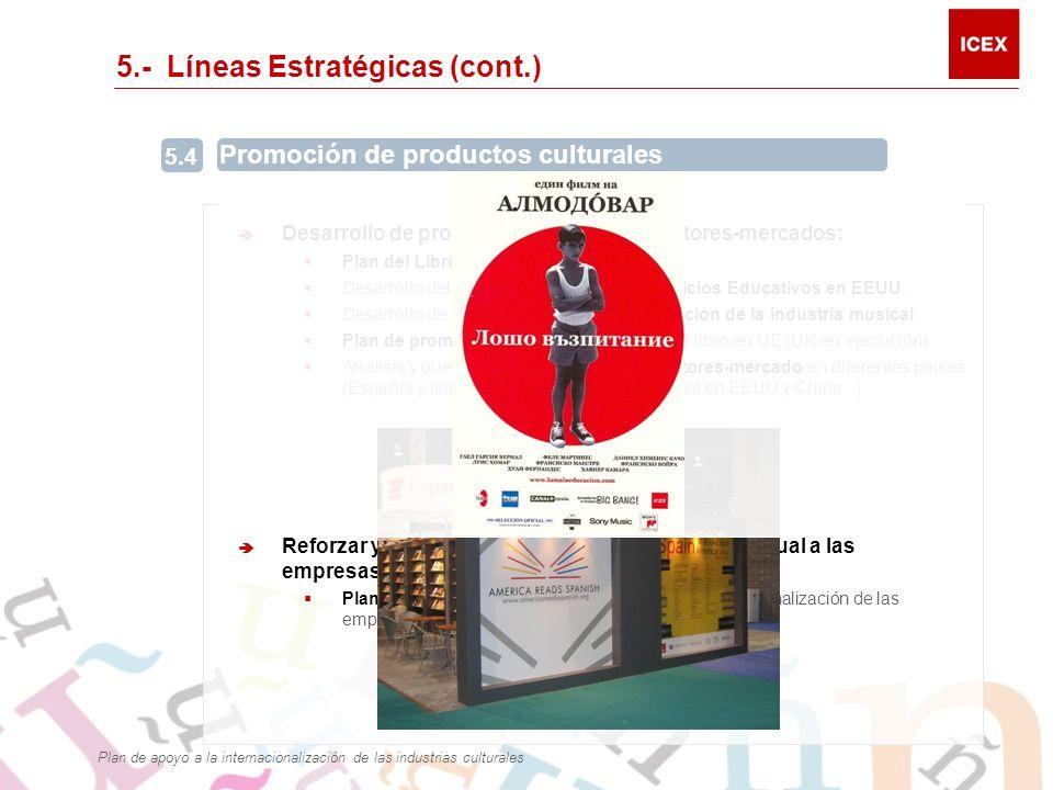 5.- Líneas Estratégicas (cont.) Desarrollo de programas específicos sectores-mercados: Plan del Libro en español en EEUU Desarrollo del Plan de Promoción de Servicios Educativos en EEUU.