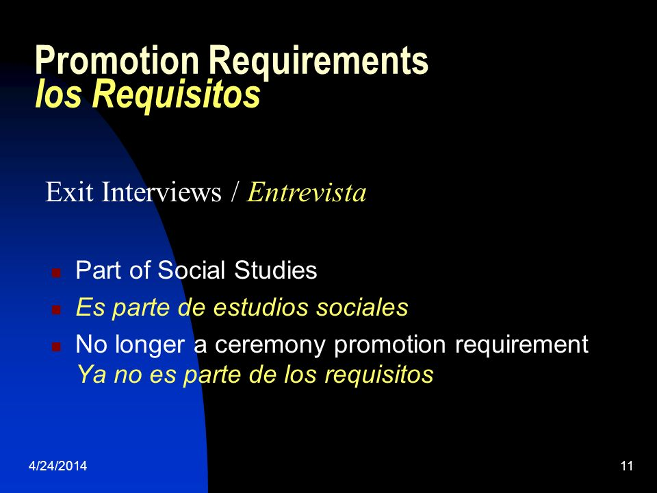 4/24/201411 Promotion Requirements los Requisitos Part of Social Studies Es parte de estudios sociales No longer a ceremony promotion requirement Ya no es parte de los requisitos Exit Interviews / Entrevista