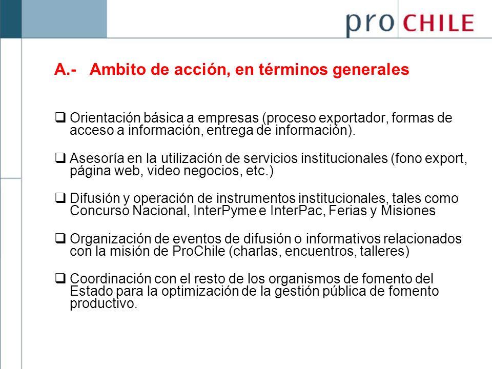 A.- Ambito de acción, en términos generales Orientación básica a empresas (proceso exportador, formas de acceso a información, entrega de información)