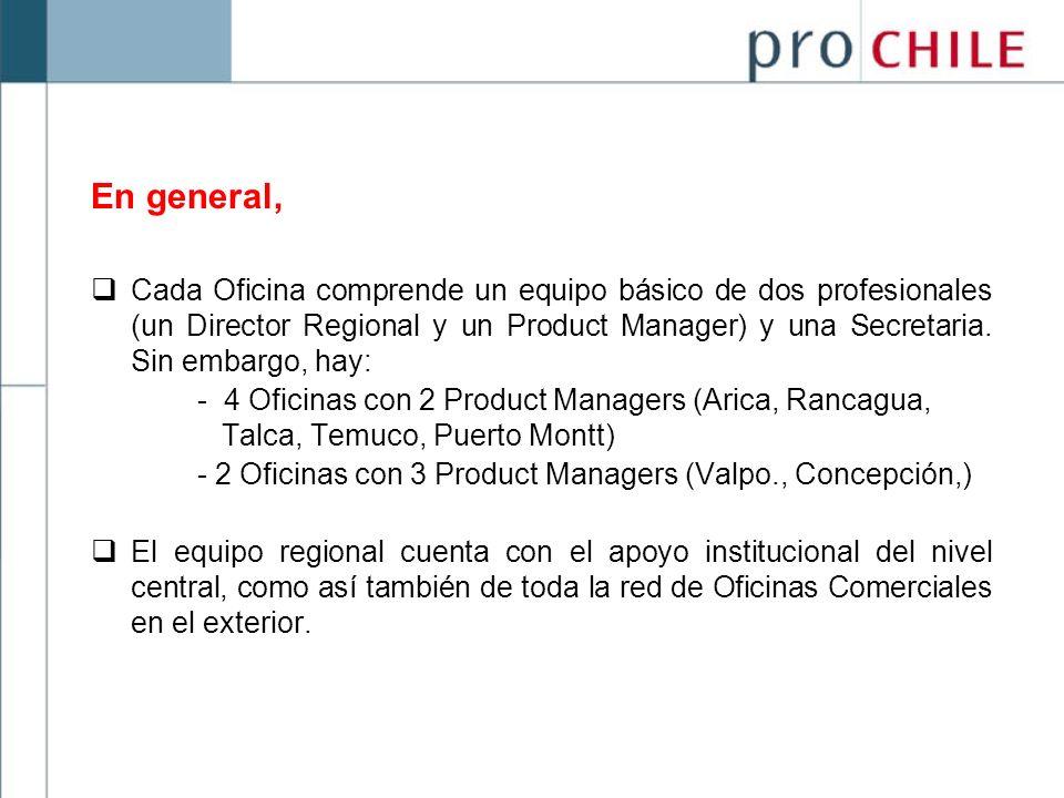 En general, Cada Oficina comprende un equipo básico de dos profesionales (un Director Regional y un Product Manager) y una Secretaria. Sin embargo, ha