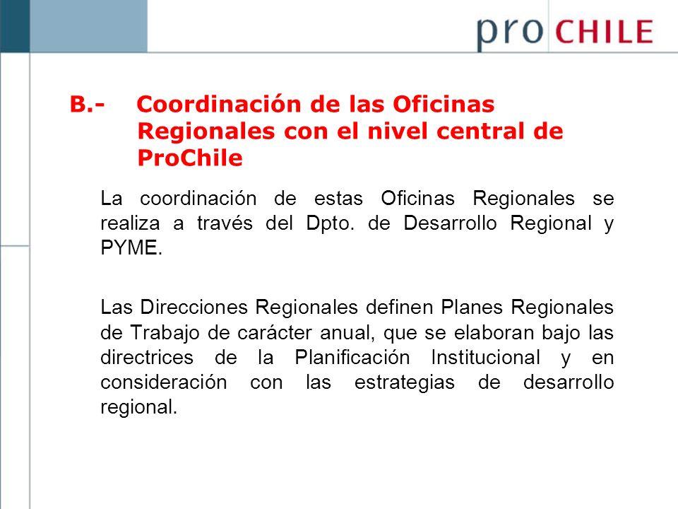 B.- Coordinación de las Oficinas Regionales con el nivel central de ProChile La coordinación de estas Oficinas Regionales se realiza a través del Dpto