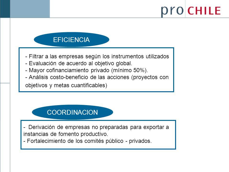 EFICIENCIA - Filtrar a las empresas según los instrumentos utilizados - Evaluación de acuerdo al objetivo global. - Mayor cofinanciamiento privado (mí