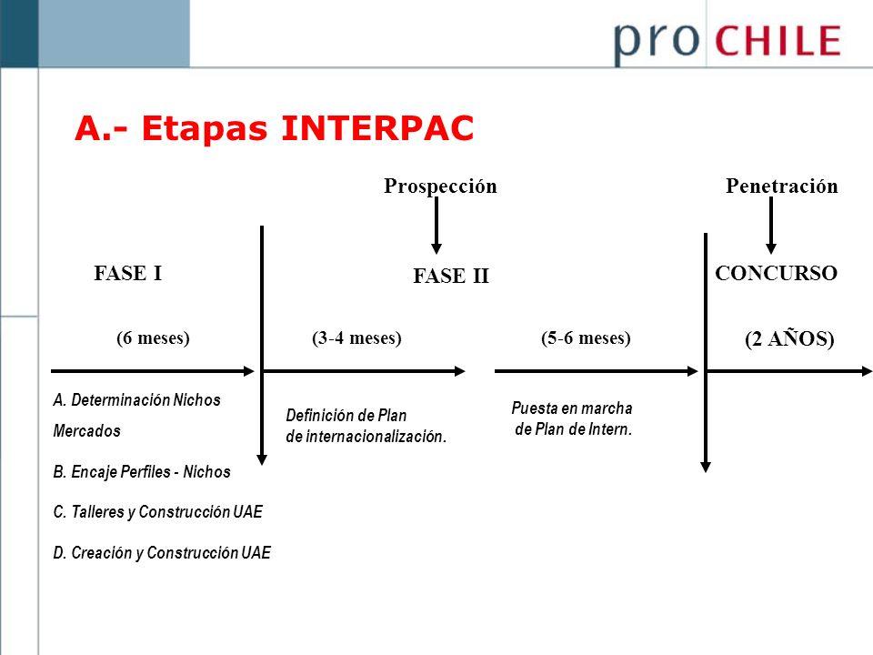FASE I FASE II (3-4 meses)(5-6 meses)(6 meses) CONCURSO (2 AÑOS) ProspecciónPenetración A. Determinación Nichos Mercados B. Encaje Perfiles - Nichos C