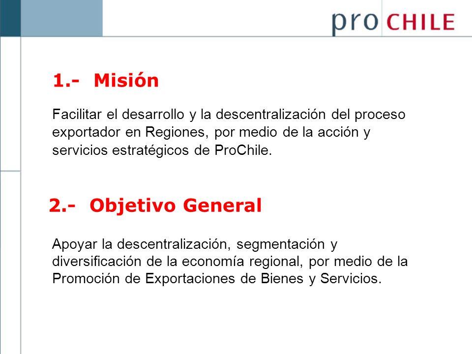 1.- Misión Facilitar el desarrollo y la descentralización del proceso exportador en Regiones, por medio de la acción y servicios estratégicos de ProCh