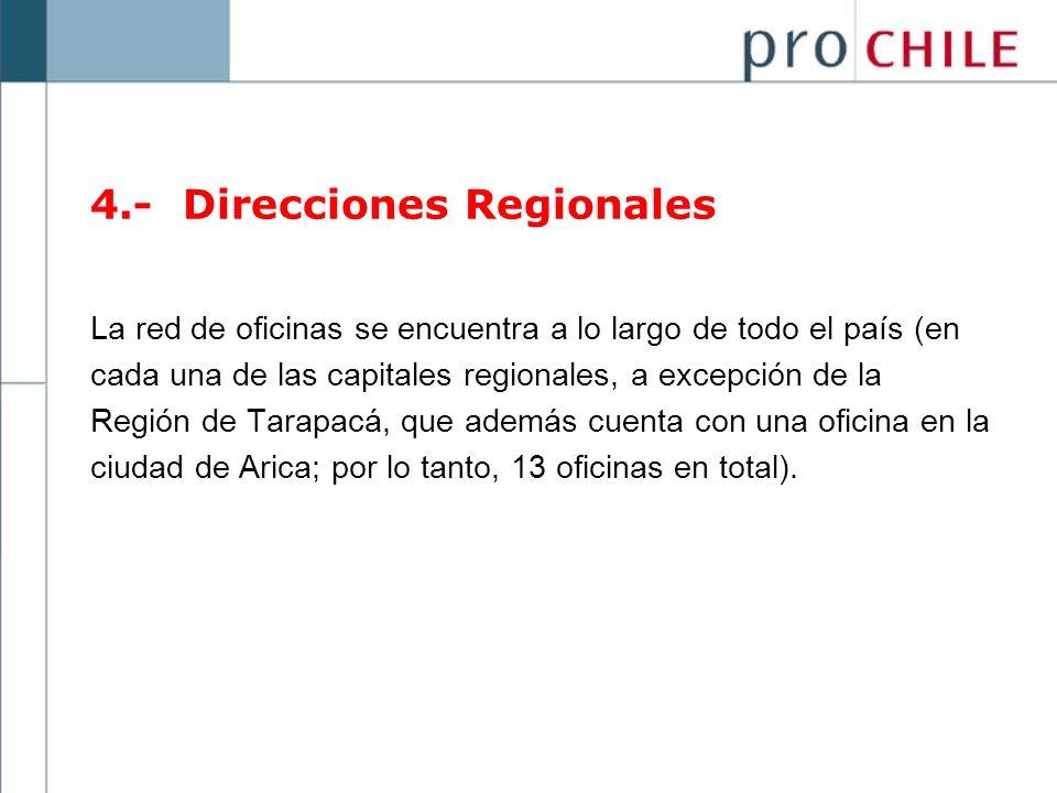 La red de oficinas se encuentra a lo largo de todo el país (en cada una de las capitales regionales, a excepción de la Región de Tarapacá, que además