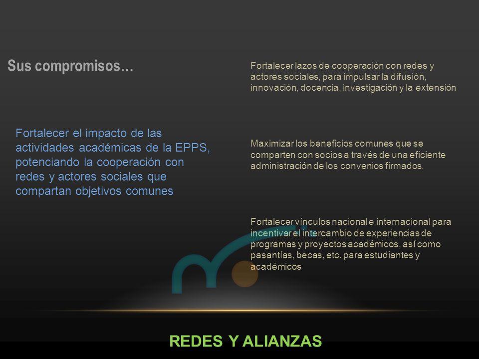 REDES Y ALIANZAS Sus compromisos… Fortalecer lazos de cooperación con redes y actores sociales, para impulsar la difusión, innovación, docencia, inves