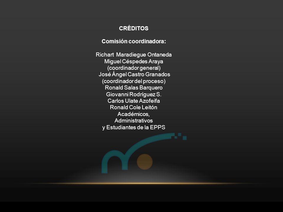 CRÉDITOS Comisión coordinadora: Richart Maradiegue Ontaneda Miguel Céspedes Araya (coordinador general) José Ángel Castro Granados (coordinador del pr