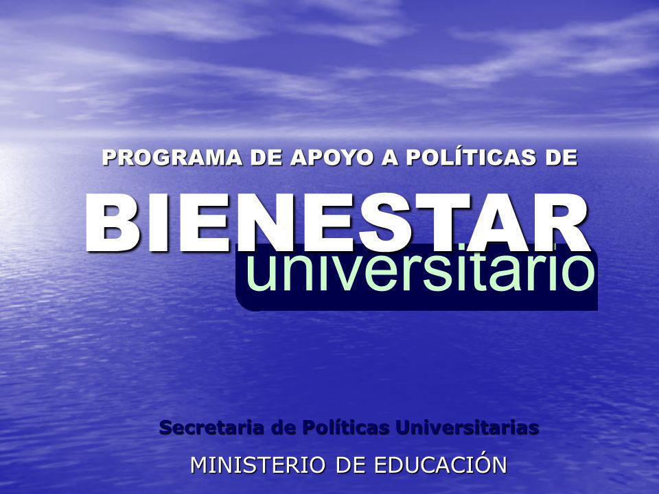 universitarioBIENESTAR PROGRAMA DE APOYO A POLÍTICAS DE Secretaria de Políticas Universitarias MINISTERIO DE EDUCACIÓN