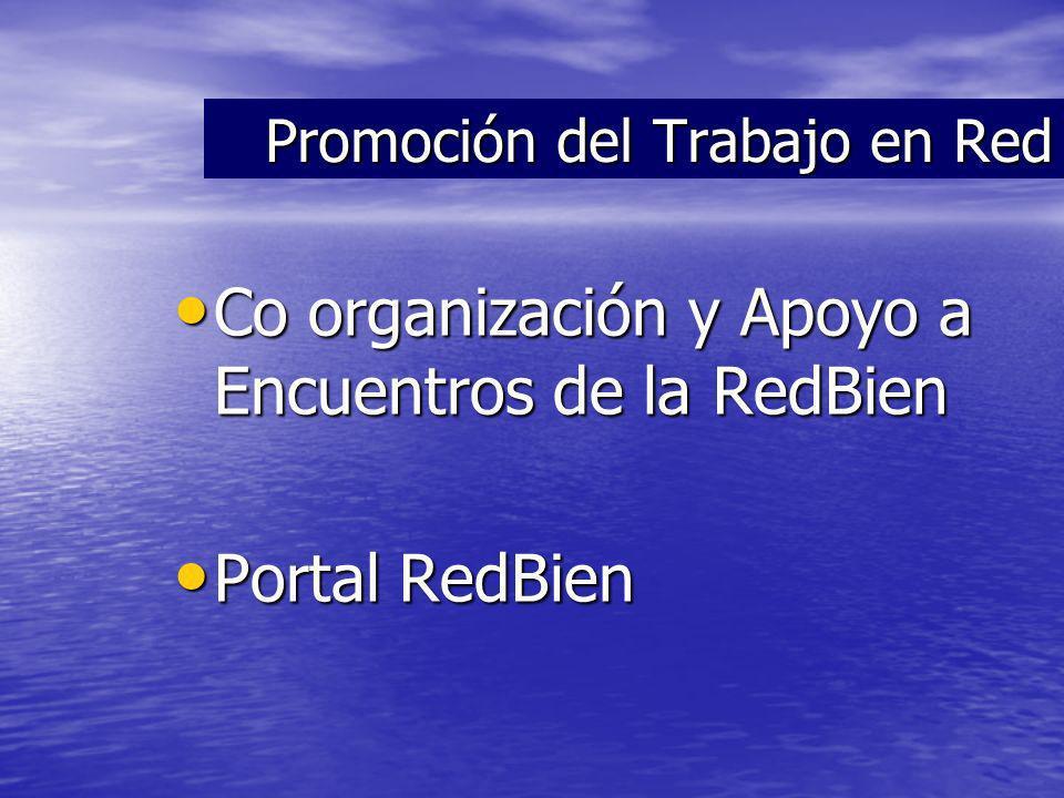 Co organización y Apoyo a Encuentros de la RedBien Co organización y Apoyo a Encuentros de la RedBien Portal RedBien Portal RedBien Promoción del Trabajo en Red
