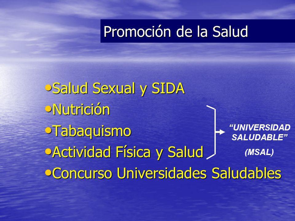 Salud Sexual y SIDA Salud Sexual y SIDA Nutrición Nutrición Tabaquismo Tabaquismo Actividad Física y Salud Actividad Física y Salud Concurso Universidades Saludables Concurso Universidades Saludables Promoción de la Salud UNIVERSIDAD SALUDABLE (MSAL)