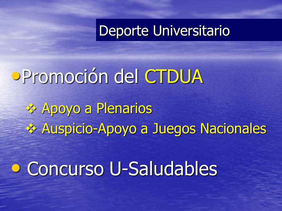 Promoción del CTDUA Promoción del CTDUA Apoyo a Plenarios Apoyo a Plenarios Auspicio-Apoyo a Juegos Nacionales Auspicio-Apoyo a Juegos Nacionales Concurso U-Saludables Concurso U-Saludables Deporte Universitario
