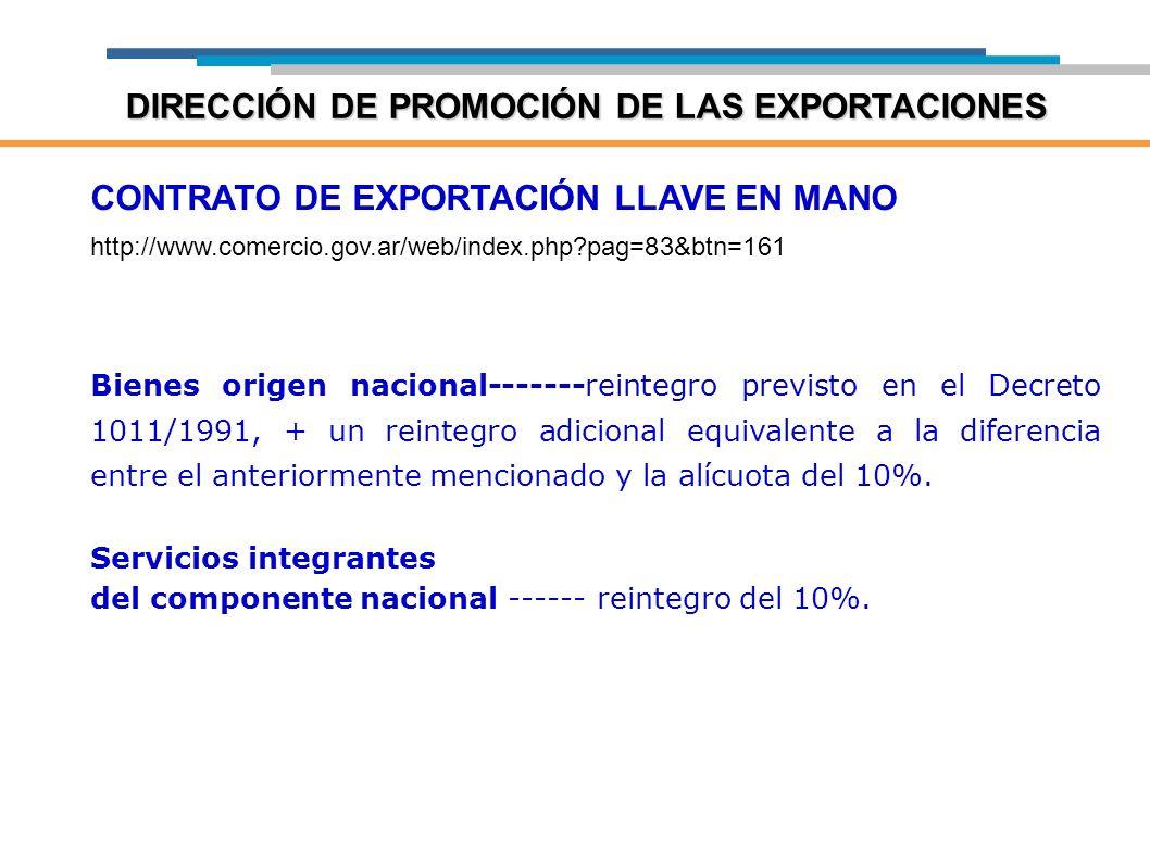 CONTRATO DE EXPORTACIÓN LLAVE EN MANO http://www.comercio.gov.ar/web/index.php?pag=83&btn=161 Bienes origen nacional-------reintegro previsto en el De