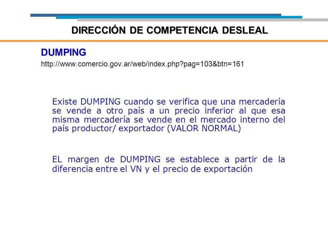DUMPING http://www.comercio.gov.ar/web/index.php?pag=103&btn=161 Existe DUMPING cuando se verifica que una mercadería se vende a otro país a un precio