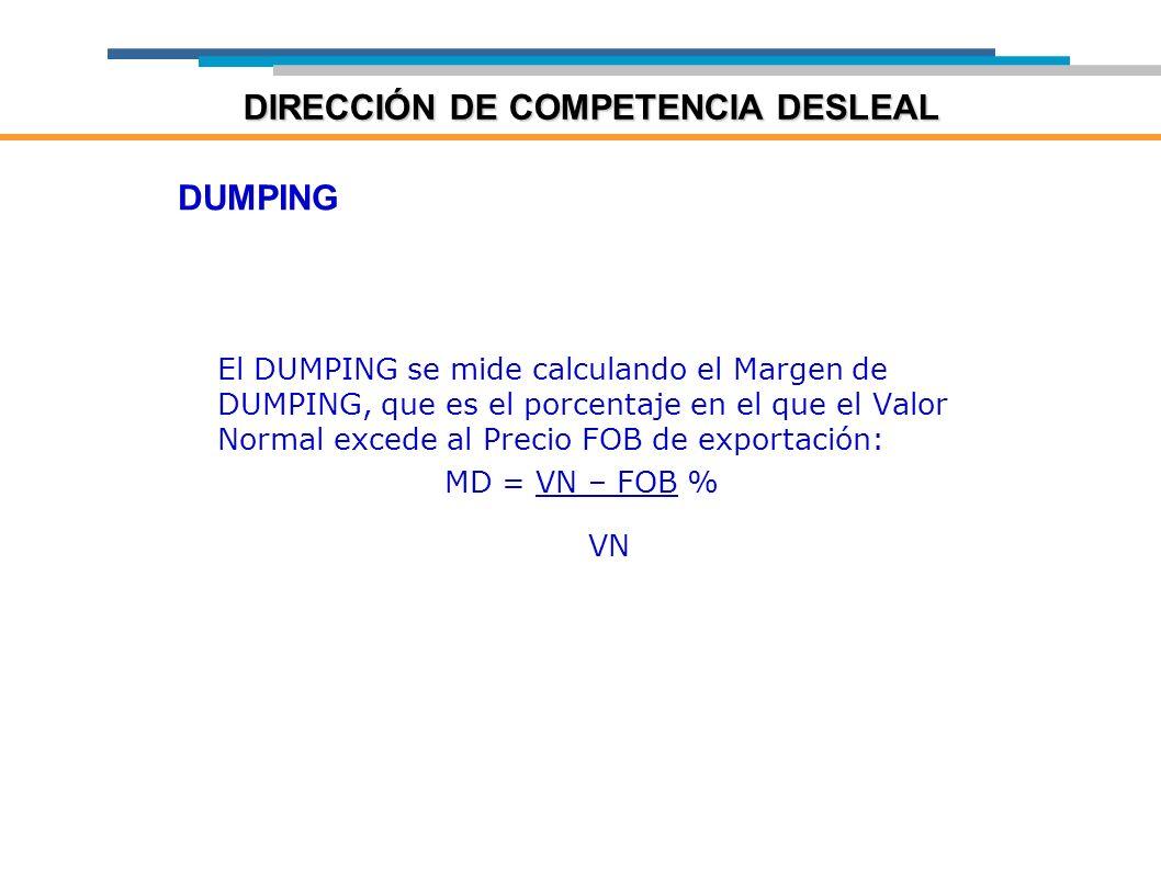 DUMPING El DUMPING se mide calculando el Margen de DUMPING, que es el porcentaje en el que el Valor Normal excede al Precio FOB de exportación: MD = V