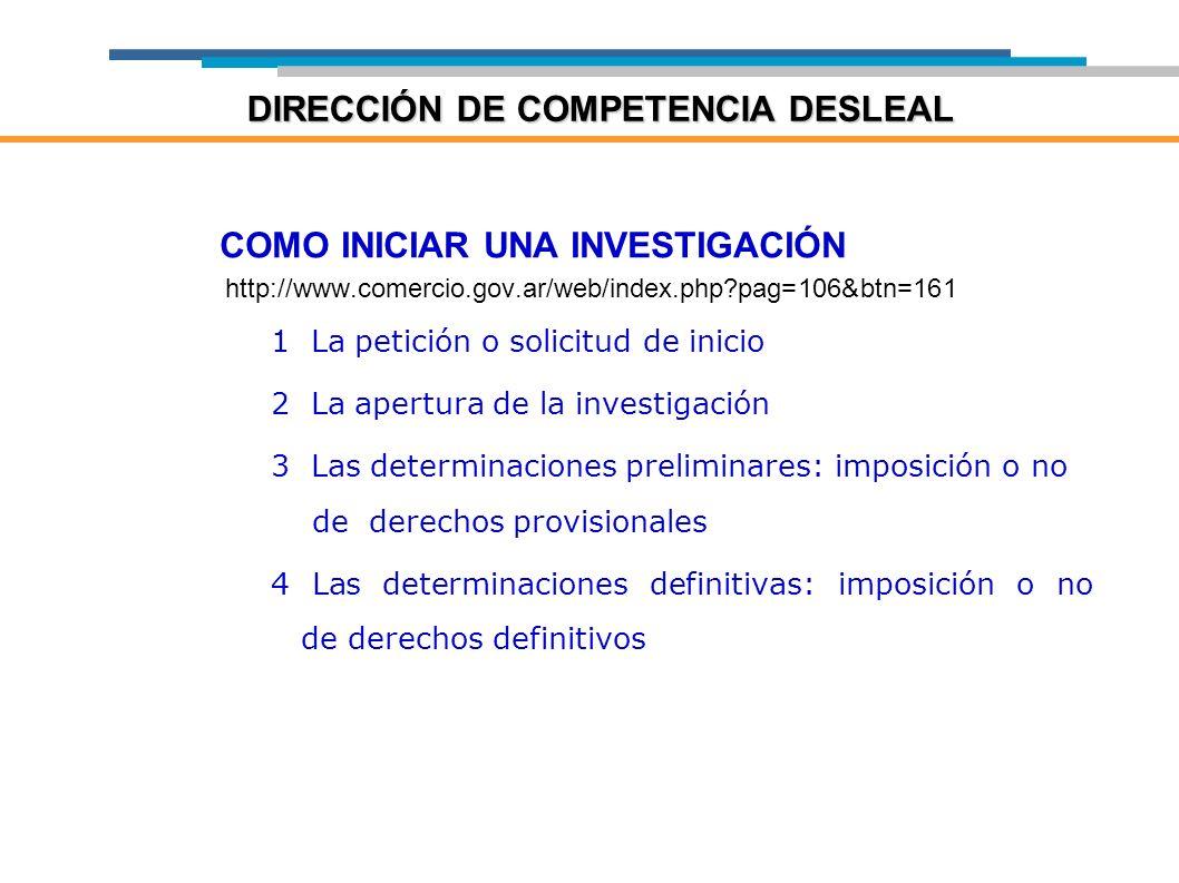 COMO INICIAR UNA INVESTIGACIÓN http://www.comercio.gov.ar/web/index.php?pag=106&btn=161 1 La petición o solicitud de inicio 2 La apertura de la invest
