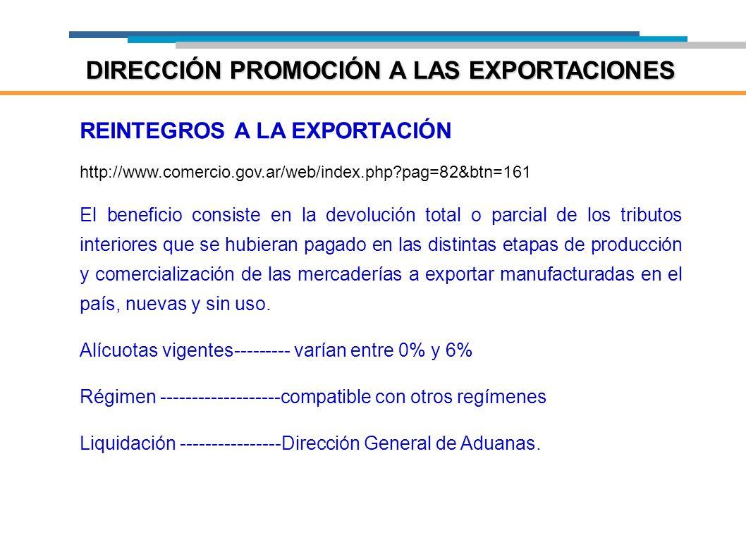 REINTEGROS A LA EXPORTACIÓN http://www.comercio.gov.ar/web/index.php?pag=82&btn=161 El beneficio consiste en la devolución total o parcial de los trib