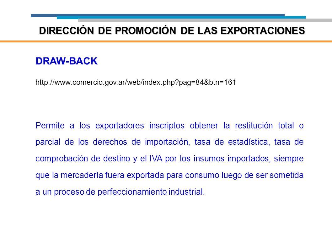DRAW-BACK http://www.comercio.gov.ar/web/index.php?pag=84&btn=161 Permite a los exportadores inscriptos obtener la restitución total o parcial de los