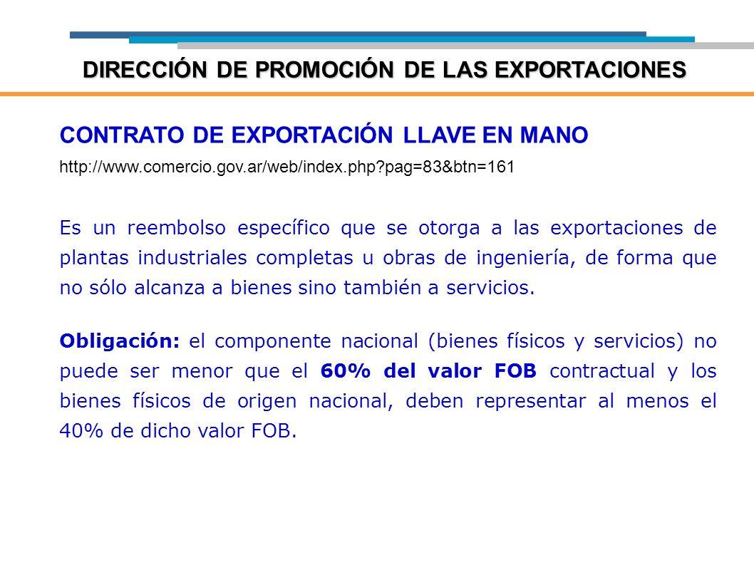 CONTRATO DE EXPORTACIÓN LLAVE EN MANO http://www.comercio.gov.ar/web/index.php?pag=83&btn=161 Es un reembolso específico que se otorga a las exportaci