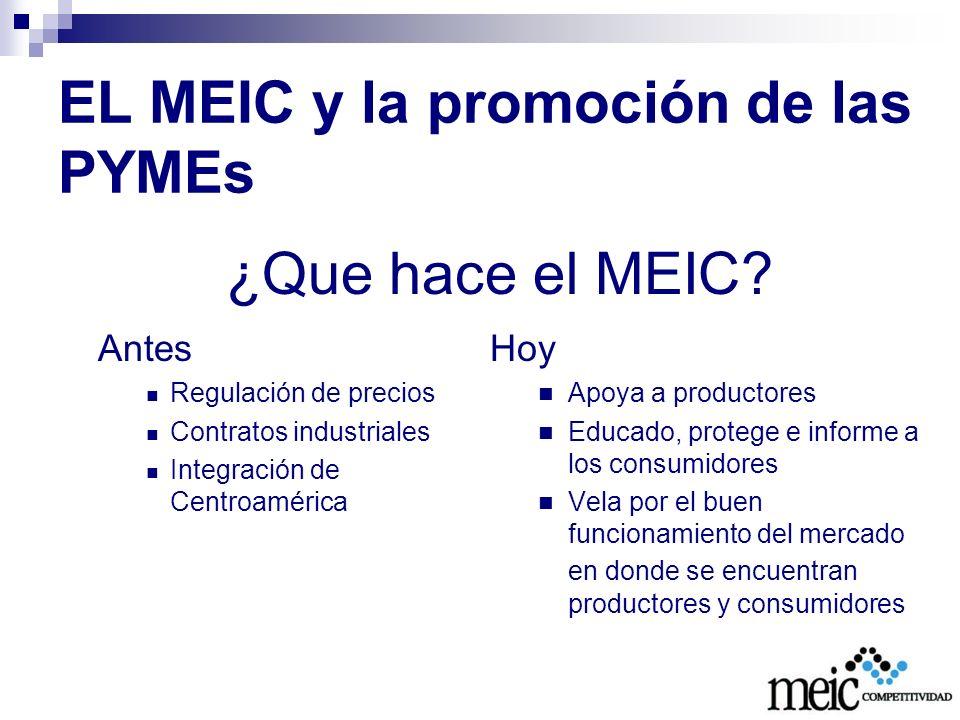 EL MEIC y la promoción de las PYMEs Coordinación de la agenda nacional de competitividad (TODOS los productores) Simplificación de trámites y mejora regulatoria (TODAS las empresas, pero especialmente las PYMEs) Acceso a los mercados (promoción de la competencia, etiquetado) Sistema nacional de la calidad Certificación de productos para que sean exportables (inocuidad y diferenciación)