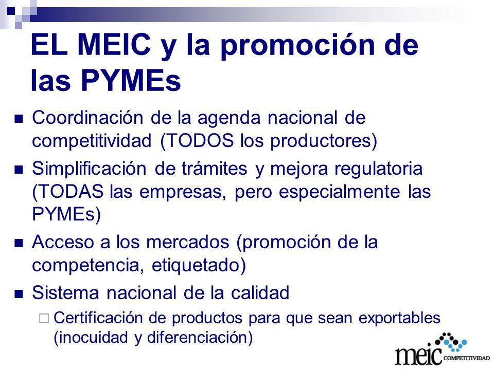 EL MEIC y la promoción de las PYMEs Ley 8262 Fortalecimiento para las PYME Rectoría Mecanismos de coordinación y consulta: Consejo Asesor Mixto Rendición de cuentas Ante el Consejo Asesor Ante la Asamblea Legislativa Financiamiento Fondo de garantía (BP) Fondo de Financiamiento (BP) Programas para PYMEs de todos los bancos del Estado