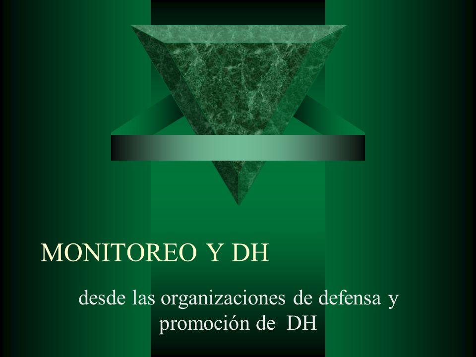 MONITOREO Y DH desde las organizaciones de defensa y promoción de DH