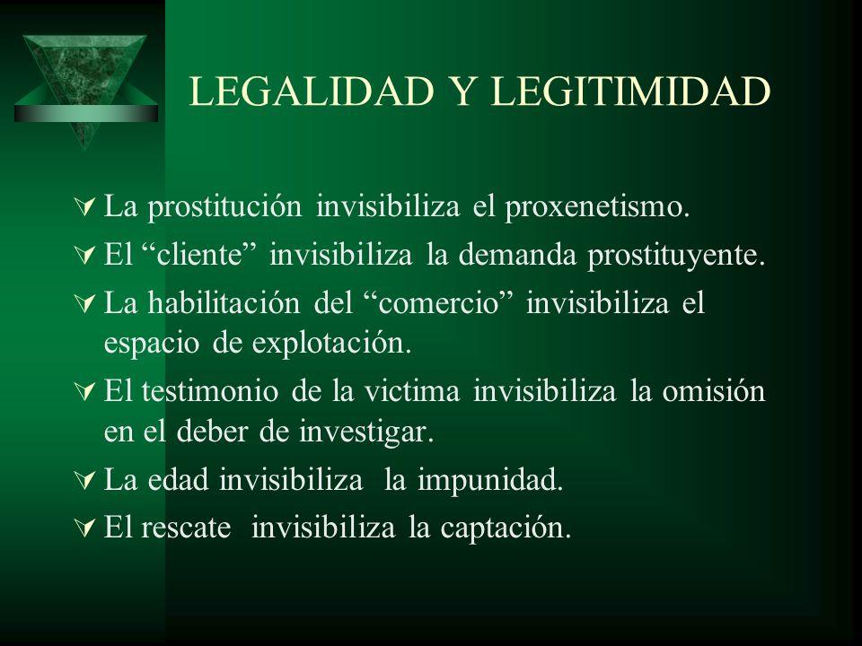 LEGALIDAD Y LEGITIMIDAD La prostitución invisibiliza el proxenetismo.