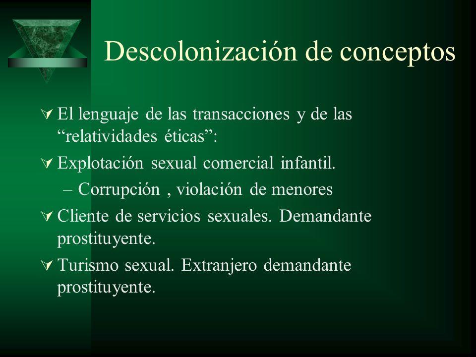 Descolonización de conceptos El lenguaje de las transacciones y de las relatividades éticas: Explotación sexual comercial infantil.