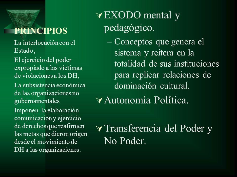 PRINCIPIOS EXODO mental y pedagógico.
