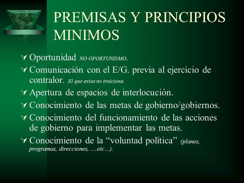 PREMISAS Y PRINCIPIOS MINIMOS Oportunidad NO OPORTUNISMO.