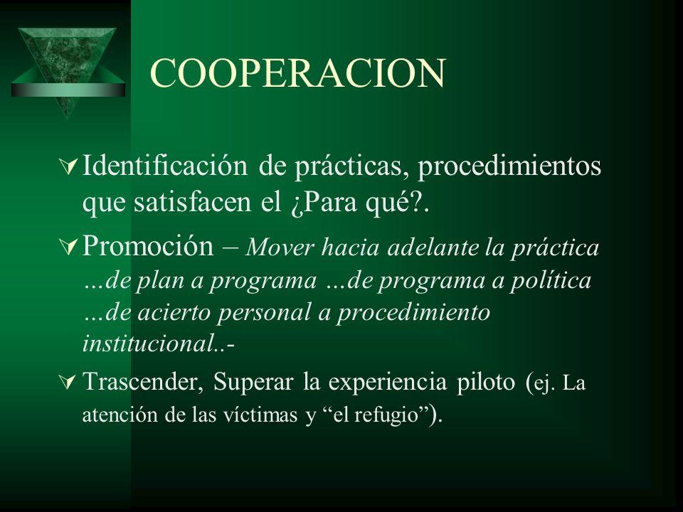 COOPERACION Identificación de prácticas, procedimientos que satisfacen el ¿Para qué .