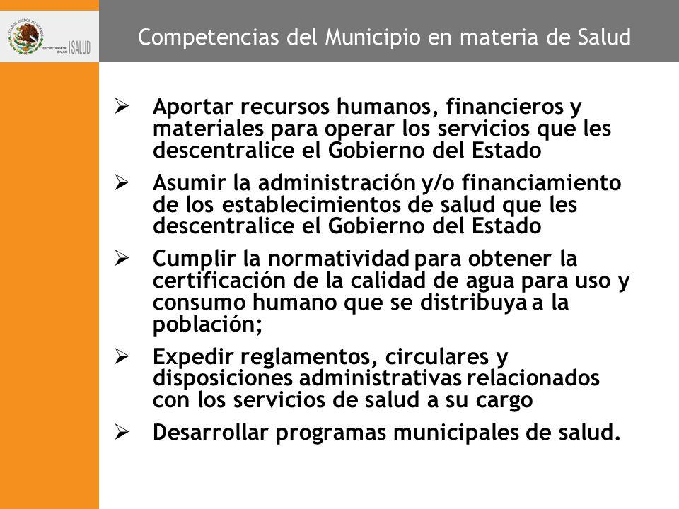 Competencias del Municipio en materia de Salud Aportar recursos humanos, financieros y materiales para operar los servicios que les descentralice el G