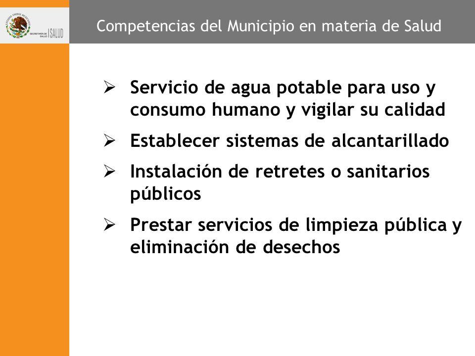 Servicio de agua potable para uso y consumo humano y vigilar su calidad Establecer sistemas de alcantarillado Instalación de retretes o sanitarios púb
