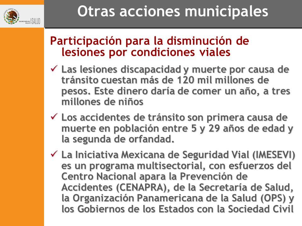 Otras acciones municipales Participación para la disminución de lesiones por condiciones viales Las lesiones discapacidad y muerte por causa de tránsi