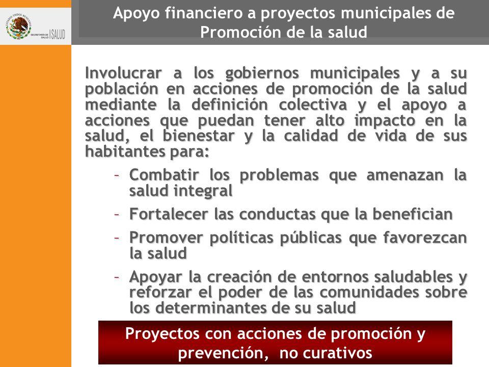 Apoyo financiero a proyectos municipales de Promoción de la salud Involucrar a los gobiernos municipales y a su población en acciones de promoción de