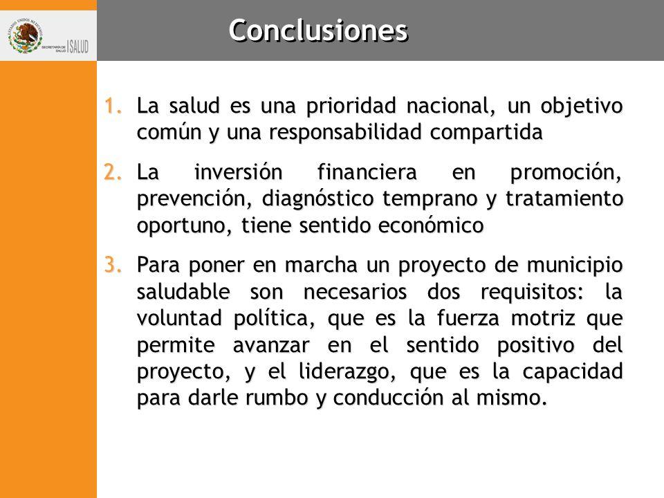 Conclusiones 1.La salud es una prioridad nacional, un objetivo común y una responsabilidad compartida 2.La inversión financiera en promoción, prevenci