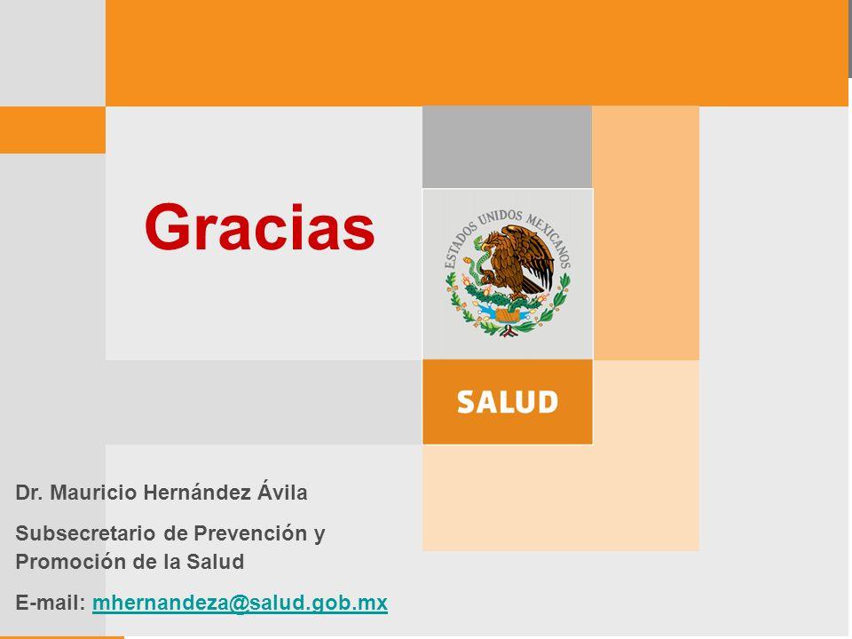 Dr. Mauricio Hernández Ávila Subsecretario de Prevención y Promoción de la Salud E-mail: mhernandeza@salud.gob.mxmhernandeza@salud.gob.mx Gracias