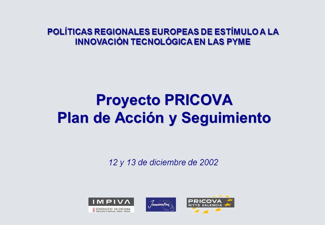 Proyecto PRICOVA Plan de Acción y Seguimiento 12 y 13 de diciembre de 2002 POLÍTICAS REGIONALES EUROPEAS DE ESTÍMULO A LA INNOVACIÓN TECNOLÓGICA EN LAS PYME