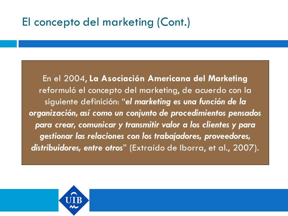 El concepto del marketing (Cont.) En el 2004, La Asociación Americana del Marketing reformuló el concepto del marketing, de acuerdo con la siguiente d