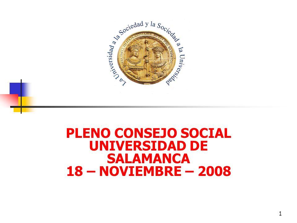 1 PLENO CONSEJO SOCIAL UNIVERSIDAD DE SALAMANCA 18 – NOVIEMBRE – 2008
